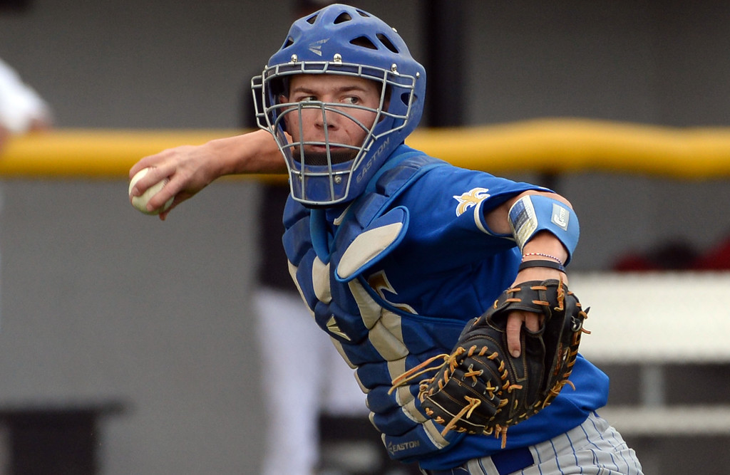 . San Dimas catcher Daniel Millwee (C) throws out Northview\'s Ruben Rosales (not pictured) in the fifth inning of a prep baseball game at Northview High School in Covina, Calif., on Wednesday, March 26, 2014. San Dimas won 2-0. (Keith Birmingham Pasadena Star-News)