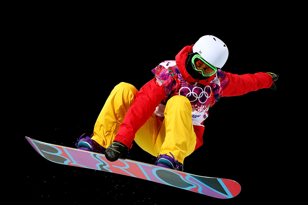. Li Shuang of China competes in the Snowboard Women\'s Halfpipe Semifinals on day five of the Sochi 2014 Winter Olympics at Rosa Khutor Extreme Park on February 12, 2014 in Sochi, Russia.  (Photo by Cameron Spencer/Getty Images)