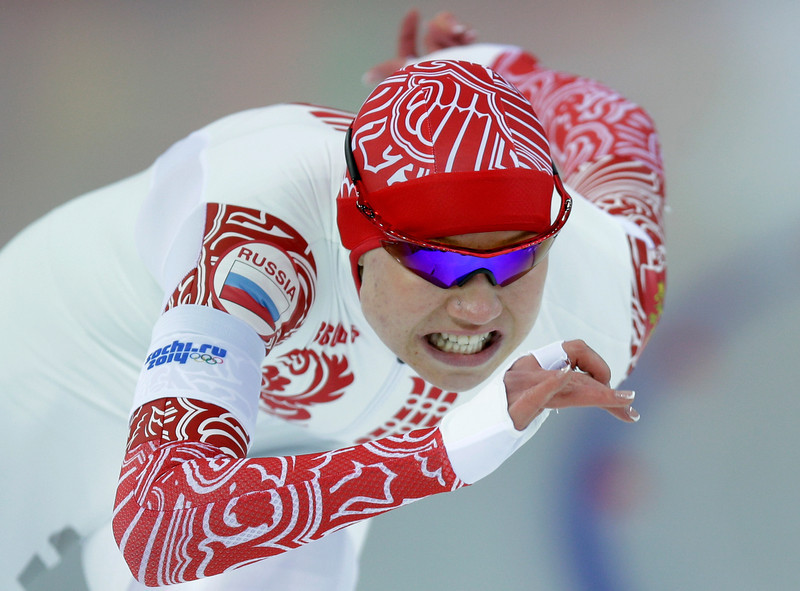 . Silver medalist Russia\'s Olga Fatkulina competes in the second heat of the women\'s 500-meter speed skating race at the Adler Arena Skating Center during the 2014 Winter Olympics, Tuesday, Feb. 11, 2014, in Sochi, Russia. (AP Photo/Pavel Golovkin)
