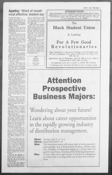 Daily Trojan, Vol. 117, No. 61, April 21, 1992