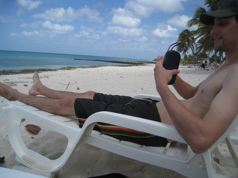 Mat rigged up his chair on rocks so that it was higher