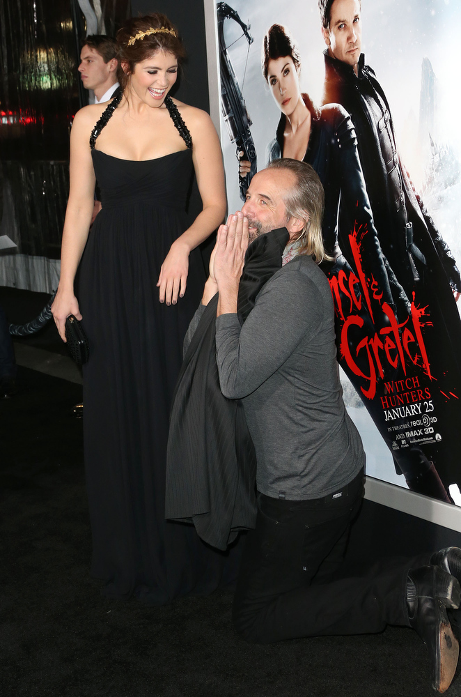 ". Actress Gemma Arterton (L) and actor Peter Stormare attend the Premiere of Paramount Pictures\' ""Hansel And Gretel Witch Hunters\"" at the TCL Chinese Theatre on January 24, 2013 in Hollywood, California.  (Photo by Frederick M. Brown/Getty Images)"