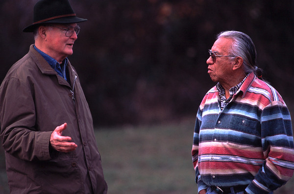 Bill Ruckelshaus and Billy Frank on Nov. 15, 2002, during the dedication of a salmon habitat restoration project adjacent to the Nisqually National Wildlife Refuge.