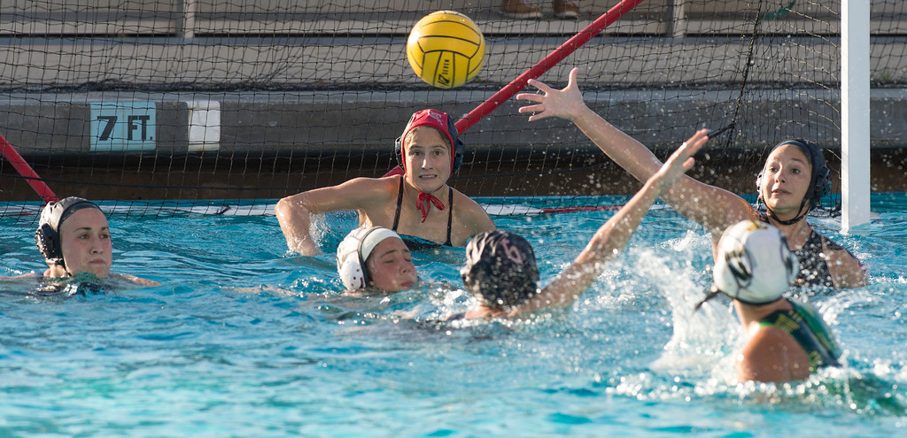 . La Serna High goalie Jacqui Verdugo readies to block a Temple City High shot on goal during the CIF-SS girls water polo first-round game at Whittier High Feb. 14, 2013.   (SGVN/Staff photo by Leo Jarzomb)