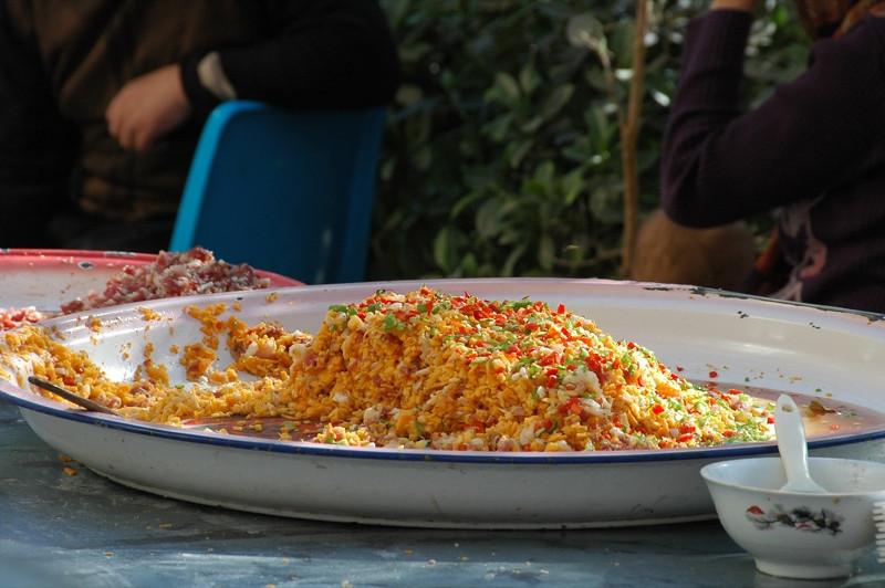 Xinjiang Food, Manti Filling - Kashgar, China