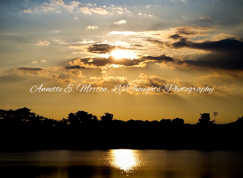 """Sunset Glory at the Bello"" Lake Montebello, Baltimore MD"