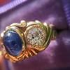 1.75ctw Cab Sapphire and Old European Cut Diamond 3-stone Ring 12