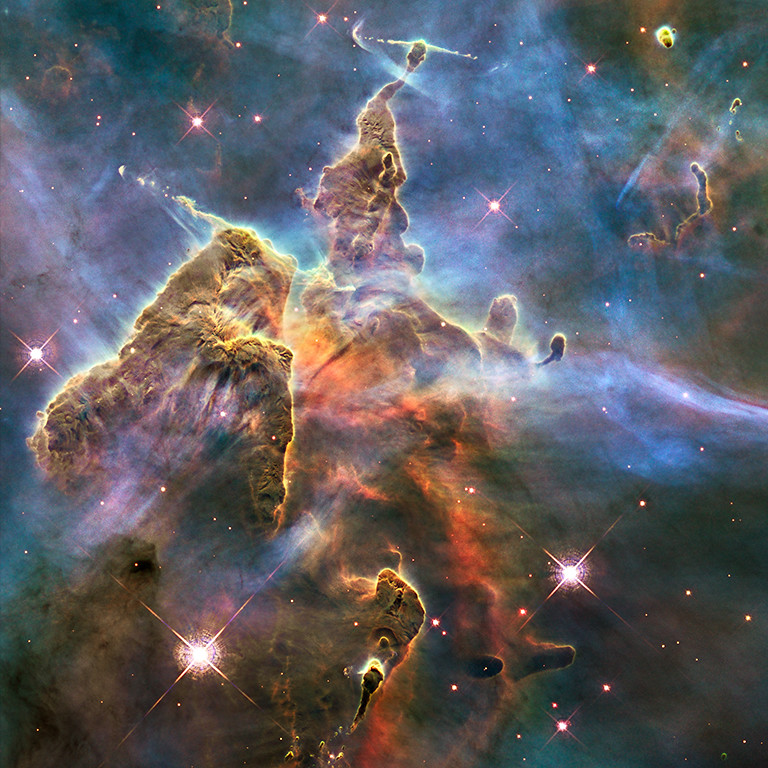 . 2010: Pillar and Jets in Carina  Credit: NASA, ESA, and M. Livio and the Hubble 20th Anniversary Team (STScI)