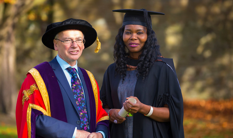 02/11/2016. Waterford Institute of Technology (WIT) Conferring Ceremonies November 2016. Pictured with Prof. Willie Donnelly President of WIT is Laura Igwe from Waterford who graduated with a B.A. (Hons) in Applied Social Studies in Social Care. Picture: Patrick Browne