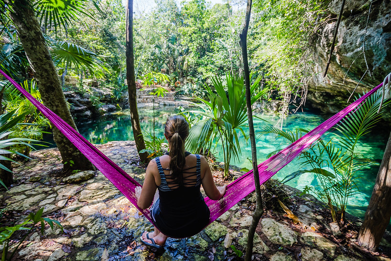 Lina Stock at a cenote in Mexico