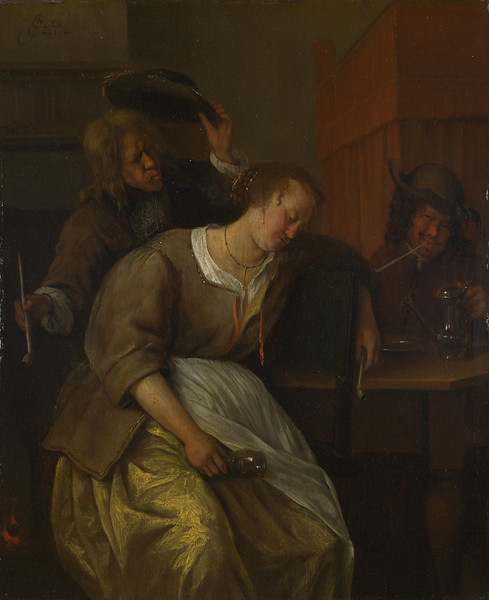 A Man Blowing Smoke at  Drunken Woman