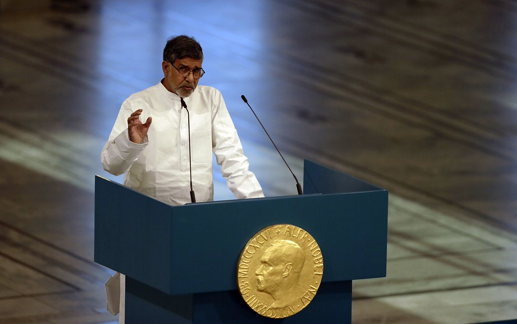 . Nobel Peace Prize laureate Kailash Satyarthi gives a speech during the Nobel Peace Prize awards ceremony at the City Hall in Oslo, Norway, on December 10, 2014. 17-year-old Pakistani girls\' education activist Malala Yousafzai known as Malala shares the 2014 peace prize with the Indian campaigner Kailash Satyarthi, 60, who has fought for 35 years to free thousands of children from virtual slave labour.      AFP PHOTO / VEGARD WIVESTAD GROTTVEGARD WIVESTAD GROTT/AFP/Getty Images