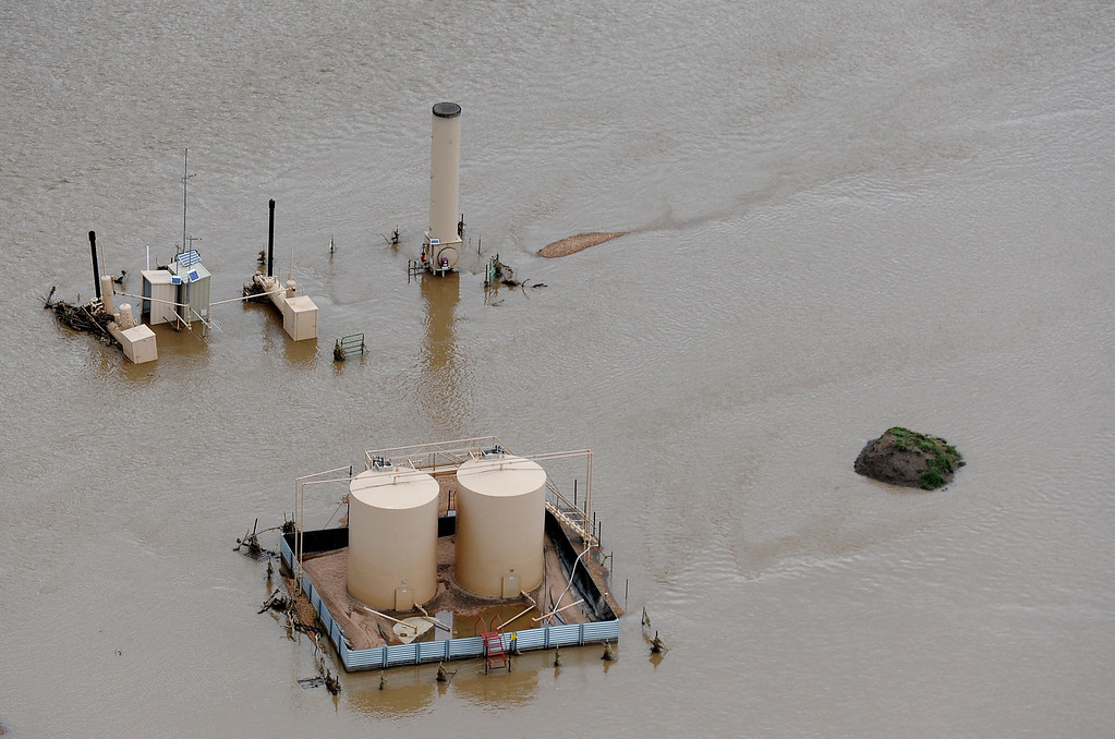 . WELD COUNTY, CO. - SEPTEMBER 16:  Aerial photographs of the flooding of Oil and Gas industry operations across Northern Colorado. (Photo By Tim Rasmussen/The Denver Post)
