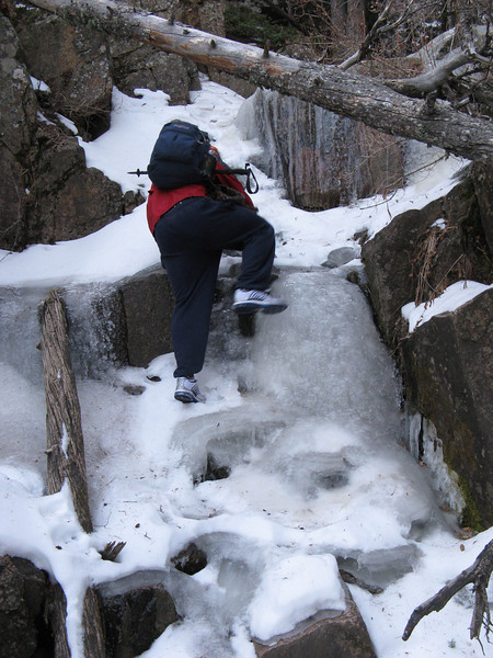 Apparently wearing virtual crampons, Kevin ascends the frozen waterfall.