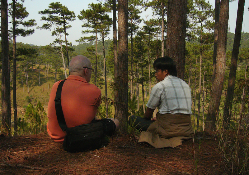 Chatting with a guide while hiking in Dalat
