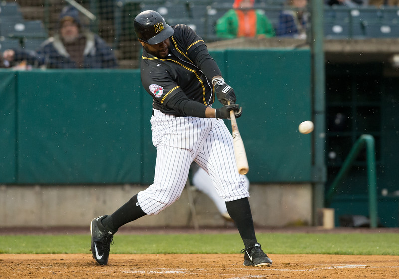 05/03/19  Wesley Bunnell   Staff  The New Britain Bees home opener vs the Somerset Patriots on Friday night at New Britain Stadium. First baseman Jason Rogers (9).