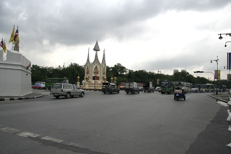 An intersection outside of Wat Pho - Th Sanamchai, I think.