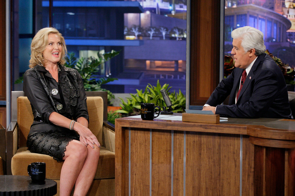 ". In this photo provided by NBC, Ann Romney, left, appears on ""The Tonight Show\"" with Jay Leno on Tuesday, Sept. 25, 2012. (AP Photo/NBC, Paul Drinkwater)"