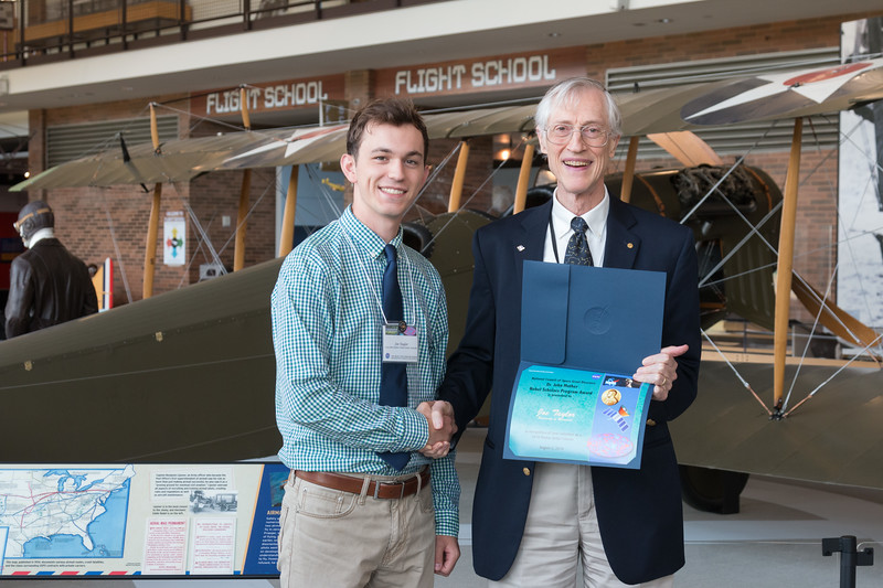 "Joe Taylor with John Mather, in front of Curtiss Jenny JN-4 -- An award luncheon, ""Dr. John Mather Nobel Scholars Program Award"", as part of the National Space Grant Foundation. College Park Aviation Museum, College Park, MD, August 2, 2019."