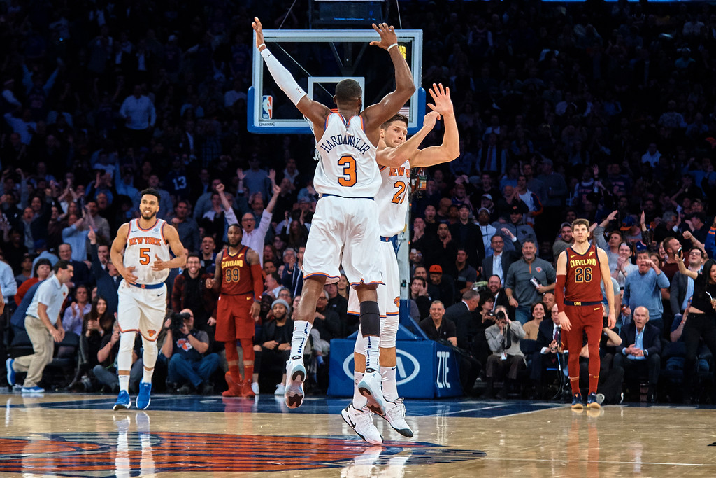 . New York Knicks\' Tim Hardway Jr. (3) and New York Knicks\' Doug McDermott, center right, celebrates during the first half of a NBA basketball game against Cleveland Cavaliers at Madison Square Garden in New York, Monday, Nov. 13, 2017. (AP Photo/Andres Kudacki)