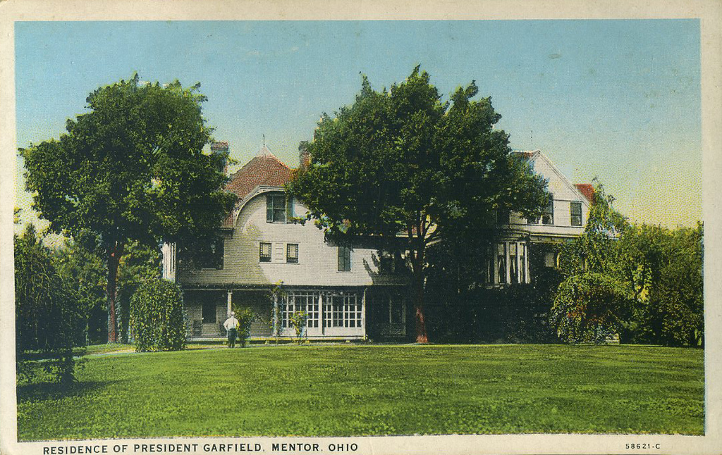 . Postcard showing the James A. Garfield National Historic Site (courtesy James A. Garfield National Historic Site)