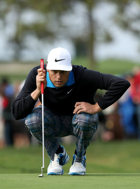 . Nick Watney lines up a putt on the sixth hole during the third round of the Farmers Insurance Open on the South Course at Torrey Pines Golf Course on January 27, 2013 in La Jolla, California.  (Photo by Stephen Dunn/Getty Images)