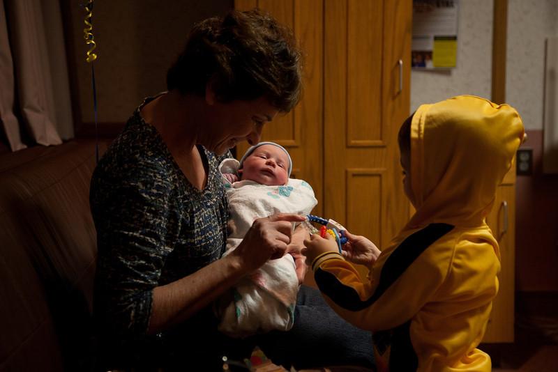 Cathy David holds Henry at Sarah Bush Lincoln Hospital in Mattoon, Illinois on November 14,  2011. (Jay Grabiec)