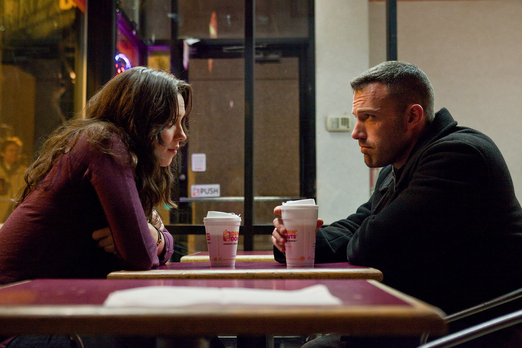 ". In this publicity image released by Warner Bros., Rebecca Hall, left, and Ben Affleck are shown in a scene from ""The Town.\"" (AP Photo/Warner Bros., Claire Folger)"