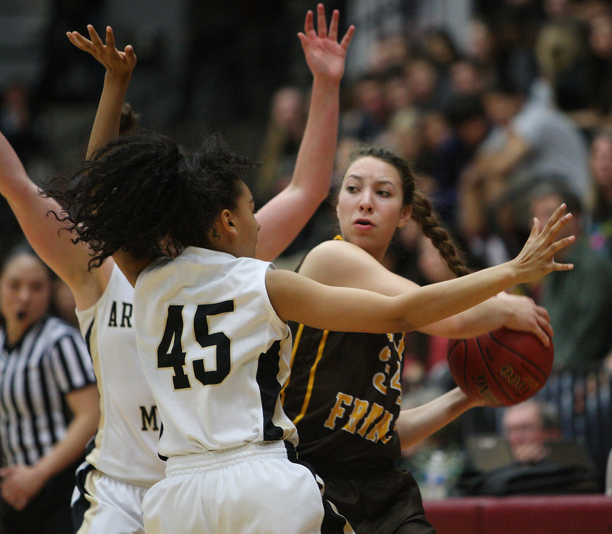 . Mitty\'s Jordan Scott and Kaliya Griffin set a trap for St. Francis\' Marisa Mondave in the second quarter during the CCS Open Division girls basketball finals at Santa Clara University in Santa Clara, Calif. on Saturday, March 2, 2013. The Archbishop Mitty Monarchs played the Saint Francis Lancers. (Jim Gensheimer/Staff)