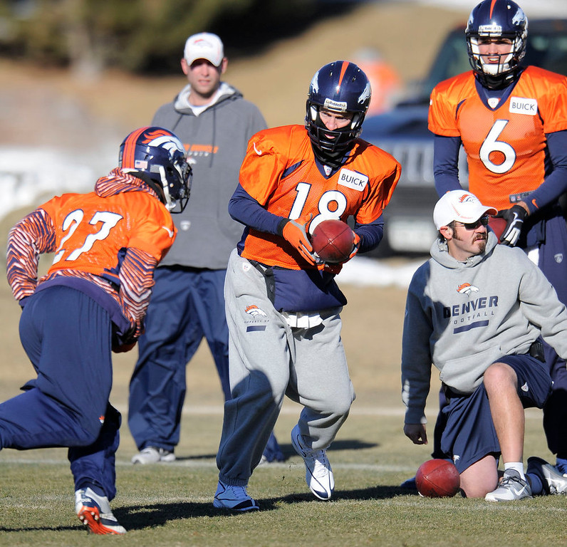 . Denver Broncos quarterback Peyton Manning (18) turns to hand off to Denver Broncos running back Knowshon Moreno (27) during practice Thursday, January 3, 2013 at Dove Valley.  John Leyba, The Denver Post