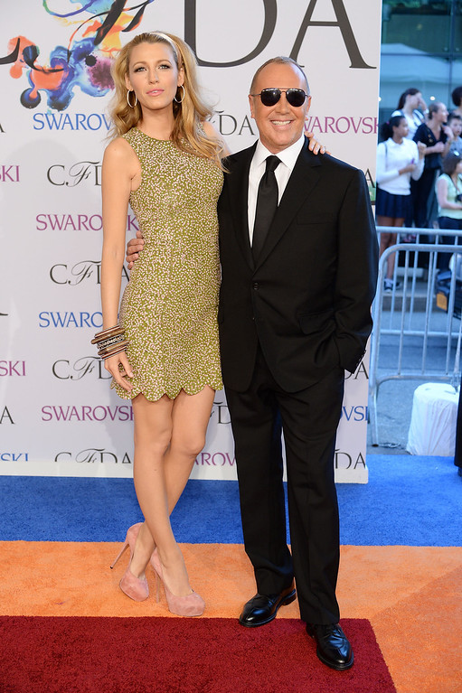 . Actress Blake Lively and designer Michael Kors attend the 2014 CFDA fashion awards at Alice Tully Hall, Lincoln Center on June 2, 2014 in New York City.  (Photo by Dimitrios Kambouris/Getty Images)