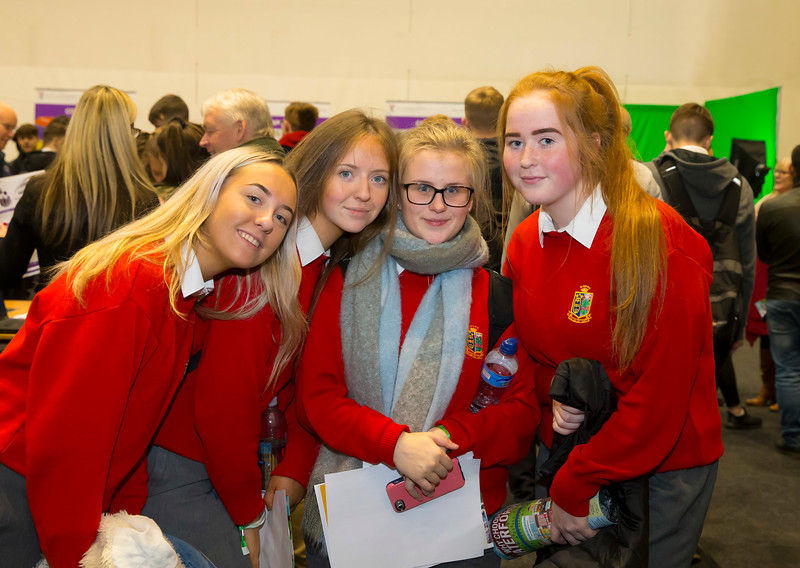 FREE TO USE IMAGE. Pictured at WIT's Autumn Open Days in the WIT Arena are Faye Grant, Ciara Sheridan, Saoirse O'Sullivan and Lauren Finn from the Ursuline Secondary School . Picture: Patrick Browne  WIT's Autumn Open Days in the WIT Arena were on Friday, 23 November and Saturday, 24 November 2018. The Schools Open Day on Friday attracted thousands of secondary school students.  The event focused on undergraduate entry for September 2019 but also showcases the opportunities for postgraduate learning and research and flexible study through our School of Lifelong Learning & Education.  The institute has 70 CAO courses across a range of discipines including,business,engineering and architecture, sports and nursing, law, social sciences, arts and psychology, the creative & performing arts, languages, tourism and hospitality, science and computing.   WIT's Autumn Open Days included presentations on all CAO courses, including new courses for 2019, as well as the opportunity to experience what it would be like to study on those courses and talk to lecturers directly.