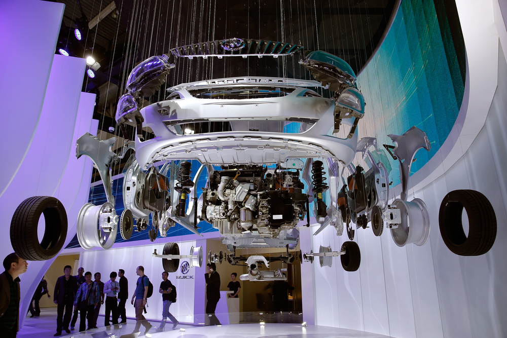 Description of . Deconstructed Buick vehicle parts are displayed during the 2014 Beijing International Automotive Exhibition at China International Exhibition Center on April 22, 2014 in Beijing, China. More than 2,000 automotive enterprises from 14 countries and regions participated in the 2014 Beijing International Automotive Exhibition from April 20 to April 29.  (Photo by Lintao Zhang/Getty Images)