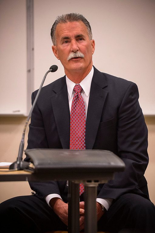 . Robert Olmsted, candidate for Los Angeles County Sheriff, at a debate at the Van Nuys Neighborhood Council on Wednesday, March 12, 2014. (Photo by David Crane/Los Angeles Daily News)