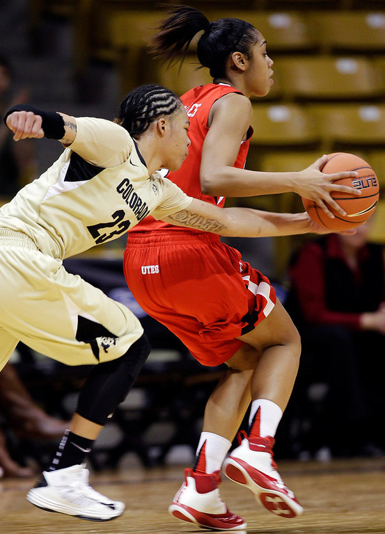 . Colorado\'s Chucky Jeffery (23) steals the ball from Utah\'s Iwalani Rodrigues during the second half of their NCAA college basketball game, Tuesday, Jan. 8, 2013, in Boulder, Colo. Colorado won 67-57. (AP Photo/Brennan Linsley)