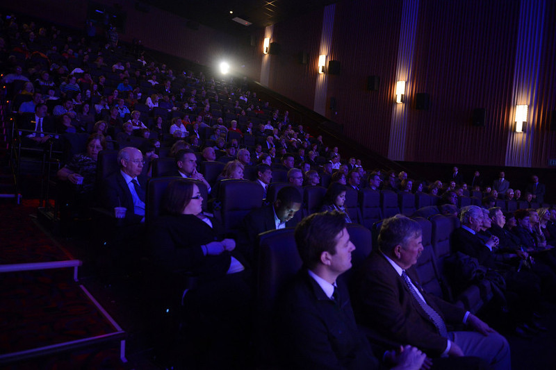 . AURORA, CO. - JANUARY 17:  Guest listen to the program during the reopening and remembrance in Theater I XD  of the Century Aurora Theater. James Holmes is accused of killing 12 people and wounding 70 others on July 20, 2012 in theater 9. (Photo By RJ Sangosti / The Denver Post)