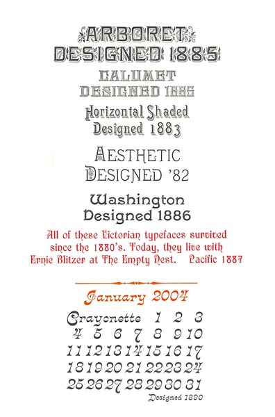 January, 2004, The Empty Nest Press