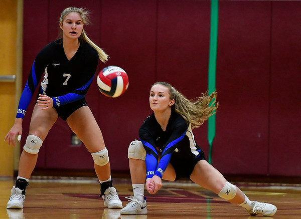 11/14/2018 Mike Orazzi | Staff Bristol Eastern's Zoe Lowe (7) and Rebecca Bender (15) during the Class L Semifinal State Girls Volleyball Tournament with Woodstock Academy held at Windsor High School Wednesday night.