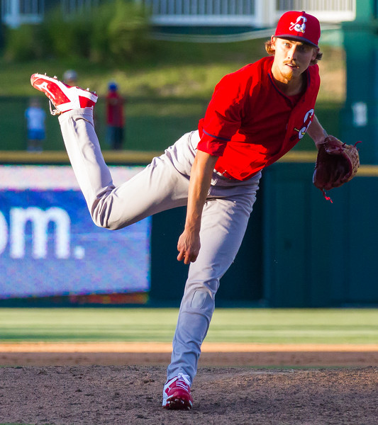 Springfield Cardinals' Luke Weaver delivers a pitch in the fifth inning of a game against the Frisco RoughRiders at Dr. Pepper Ballpark in Frisco, Texas, Sunday, June 5, 2016. (Photo by Sam Hodde)
