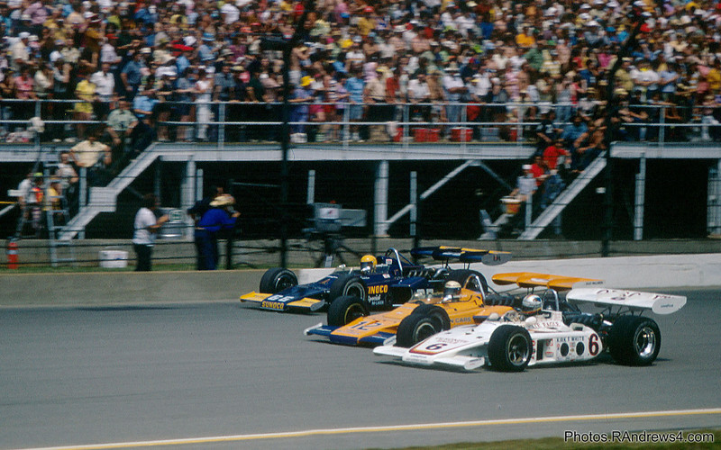 1972 Indy 500 Pace Lap: Bobby Unser, Pete Revson, Mark Donohue