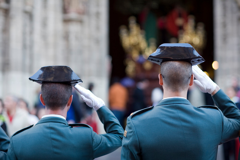 Civil Guards saluting a float, Holy Week 2008, Seville, Spain