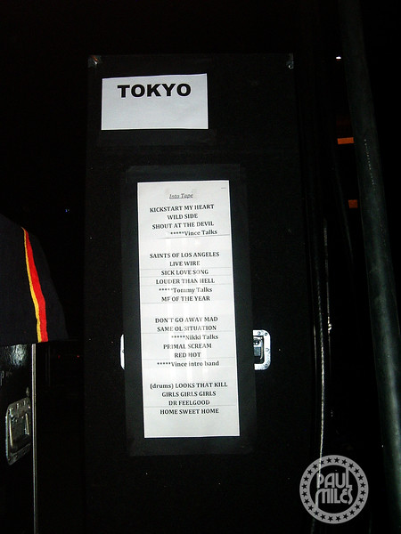 Motley Crue set list on a speaker cabinet side of stage in Tokyo, before the band's final show of their Japan tour in 2008.