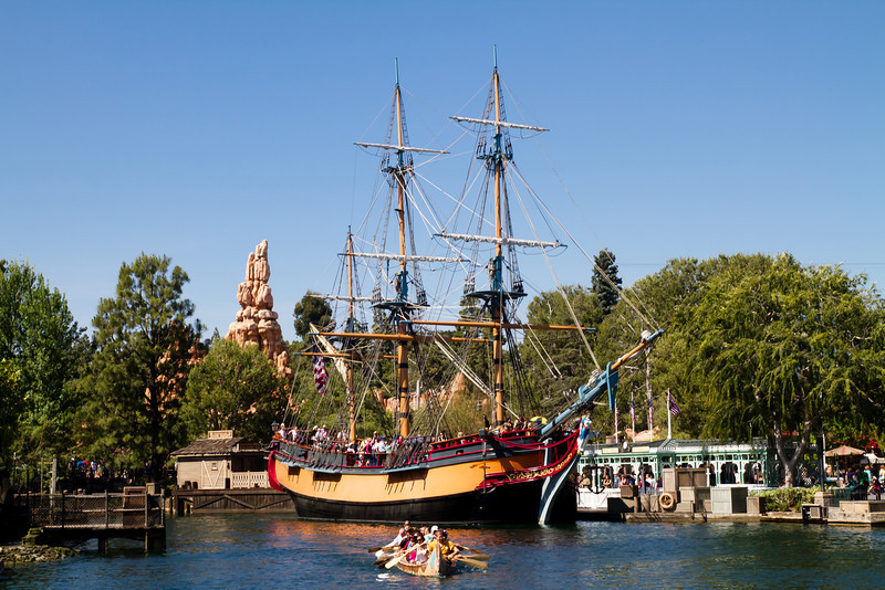 The Sailing Ship Columbia with Davy Crockett's Explorer Canoes