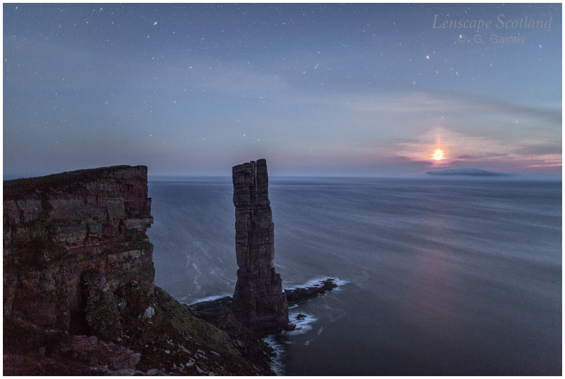 Old Man of Hoy at night, with setting moon (3)