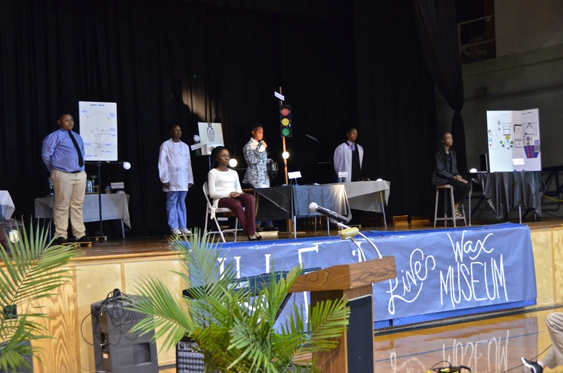 The Living Wax Museum of historical African Americans as portrayed by Holy Family students