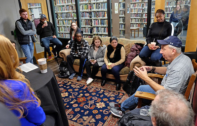 Mark Goodman '71 with Students in Cafe 4-30-19
