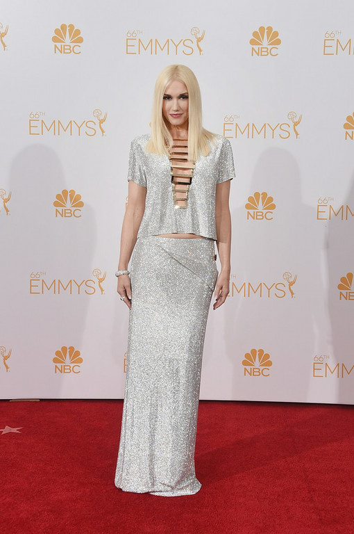 . Singer Gwen Stefani poses in the press room during the 66th Annual Primetime Emmy Awards held at Nokia Theatre L.A. Live on August 25, 2014 in Los Angeles, California.  (Photo by Jason Merritt/Getty Images)