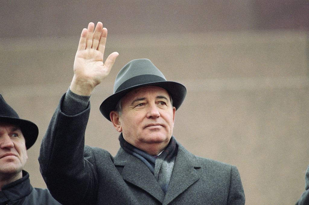 . 1989: Mikhail S. Gorbachev. Soviet President Mikhail S. Gorbachev, looks serious and concerned as he waves from the Red Square tribune during Revolution Day celebrations on Tuesday, Nov. 7, 1989 in Moscow. (AP Photo/Boris Yurchenko)