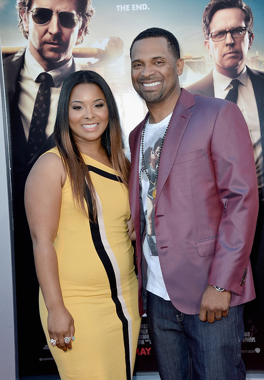 """. Actor Mike Epps (R) and wife Mechelle McCain attend the premiere of Warner Bros. Pictures\' \""""Hangover Part 3\"""" at Westwood Village Theater on May 20, 2013 in Westwood, California.  (Photo by Frazer Harrison/Getty Images)"""