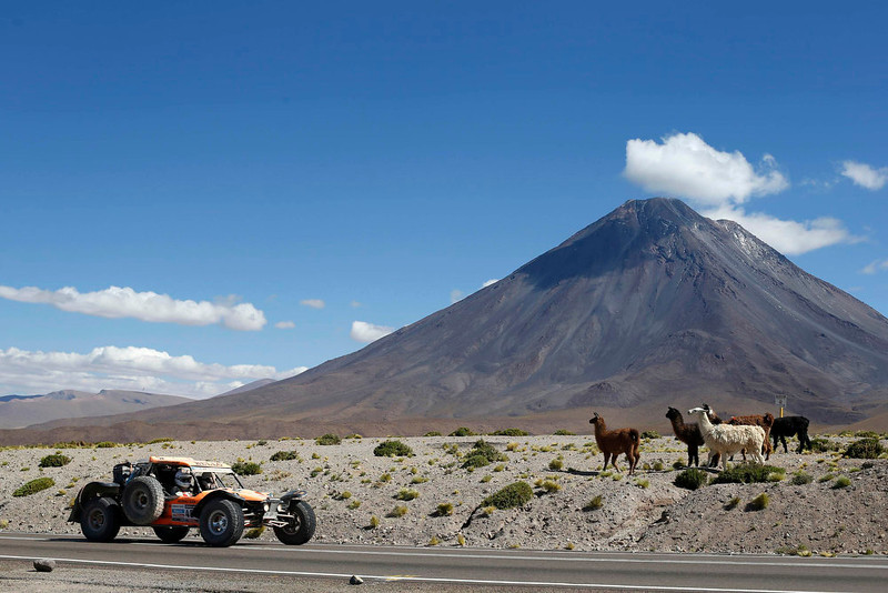 . Chile\'s Cristian Saenz and co-pilot Antonio Valdes drive their Predator en route to the Jama border crossing during the untimed 7th stage of the Dakar Rally 2013 from Calama to Salta, January 11, 2013. REUTERS/Ivan Alvarado
